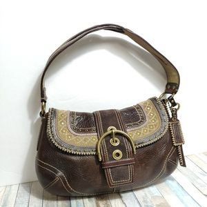 ✨ COACH brown genuine leather hobo shoulder bag